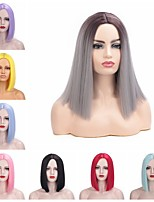 cheap -Synthetic Wig kinky Straight Bob Middle Part Wig Short Pink Blue Natural Black Purple Red Synthetic Hair 12 inch Women's Adorable Comfortable Comfy Black
