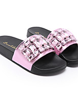 cheap -Women's Slippers & Flip-Flops Summer Flat Heel Open Toe Classic Casual Basic Daily Beach Rhinestone Solid Colored PU Walking Shoes Black / Pink / Silver