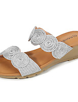 cheap -Women's Sandals Summer Wedge Heel Round Toe Daily Solid Colored PU Champagne / Gold / Silver
