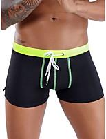 cheap -Men's Basic Boxers Underwear - Normal Low Waist Black Blue Yellow S M L