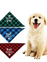 cheap -Dog Cat Bandanas & Hats Dog Bandana Dog Bibs Scarf Plaid / Check Letter & Number Casual / Sporty Cute Christmas Birthday Dog Clothes Adjustable Costume Fabric L