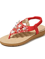 cheap -Women's Sandals Summer Flat Heel Round Toe Daily Solid Colored PU White / Black / Red