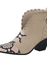 cheap -Women's Boots Fall Winter Pumps Pointed Toe British Daily Party & Evening Rivet Leopard Faux Leather Light Brown / Black / Beige