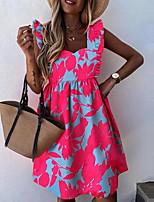 cheap -Women's Sheath Dress Knee Length Dress - Sleeveless Print Summer Strapless Elegant Sexy Loose 2020 Red Orange S M L XL