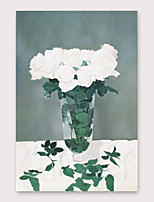 cheap -IARTS®Hand Painted White flower Oil Painting   with Stretched Frame For Home Decoration