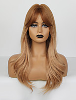 cheap -Synthetic Wig Body Wave Deep Wave Layered Haircut Deep Parting Wig Long Rose Gold Synthetic Hair Kanekalon 18 inch Women's Adorable Ombre Hair Middle Part Blonde