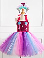 cheap -Unicorn Cosplay Costume Costume Girls' Movie Cosplay Tutus Braided / Cord Vacation Dress Purple / Fuchsia / Green Dress Headwear Christmas Halloween Carnival Polyester / Cotton Polyester