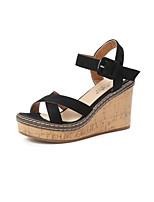 cheap -Women's Sandals Summer Wedge Heel Open Toe Daily Synthetics Black / Green / Beige