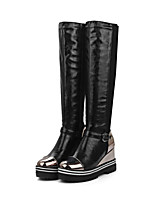 cheap -Women's Boots Wedge Heel Round Toe Casual Basic Daily Color Block PU Knee High Boots Walking Shoes Black / Red / Black / Silver