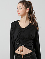 cheap -Women's Tee / T-shirt Long Sleeve Navel Drawstring Sport Athleisure T Shirt Breathable Quick Dry Comfortable Yoga Exercise & Fitness Running Everyday Use Exercising General Use / V Neck