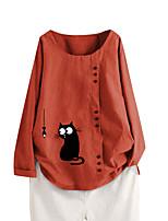 cheap -Women's Blouse Cat Long Sleeve Button Print Boat Neck Tops Loose Basic Basic Top White Blushing Pink Orange