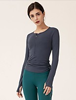 cheap -Women's Blouse Solid Colored Drawstring Round Neck Tops Slim Basic White Black Purple