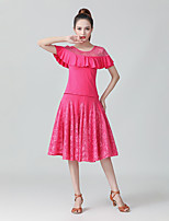 cheap -Ballroom Dance Skirts Lace Women's Performance Daily Wear Short Sleeve High Milk Fiber Polyester
