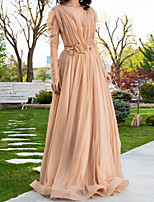 cheap -A-Line Elegant Floral Engagement Formal Evening Dress V Neck Long Sleeve Sweep / Brush Train Chiffon with Sash / Ribbon Pleats 2020