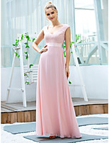 cheap -A-Line Elegant Vintage Wedding Guest Formal Evening Dress V Neck Sleeveless Floor Length Chiffon with Sash / Ribbon Embroidery 2020