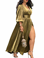 cheap -A-Line Elegant Plus Size Party Wear Prom Dress V Neck 3/4 Length Sleeve Floor Length Satin with Sash / Ribbon Bow(s) Pleats 2020