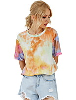 cheap -Women's T-shirt Tie Dye Tops Round Neck Daily Orange S M L XL