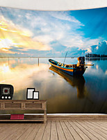 cheap -Beautiful Scenery of River fishing Boat Digital Printed Tapestry Decor Wall Art Tablecloths Bedspread Picnic Blanket Beach Throw Tapestries Colorful Bedroom Hall Dorm Living Room Hanging