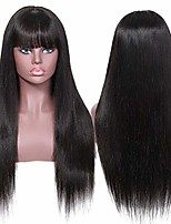 cheap -Remy Human Hair Wig Long Natural Straight With Bangs Natural Life Women New Arrival Capless Women's Natural Black 16 inch
