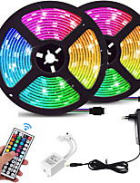 cheap -2x5M Light Sets RGB Strip Lights 600 LEDs 8mm 1 44Keys Remote Controller 1 DC Cables 1 X 12V 3A Power Supply 1 set RGB Christmas New Year's Waterproof Color Gradient TV Background 100-240 V