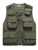 cheap -Men's Hiking Vest / Gilet Summer Outdoor Windproof Breathable Soft Multi-Pocket Top Camping / Hiking Hunting Fishing Red / Army Green / Khaki / Dark Blue