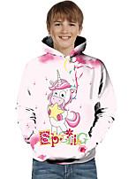 cheap -Kids Toddler Boys' Active Basic Fantastic Beasts Unicorn Geometric Color Block Animal Print Long Sleeve Hoodie & Sweatshirt Blushing Pink