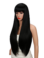 cheap -Synthetic Wig kinky Straight With Bangs Wig Very Long Blonde Black Synthetic Hair 28 inch Women's Party New Arrival Comfortable Black