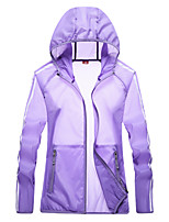 cheap -Women's Hiking Jacket Hiking Windbreaker Outdoor Windproof Sunscreen Breathable Quick Dry Jacket Top Camping / Hiking Fishing Climbing White / Purple / Fuchsia / Blue / Pink / Summer