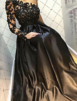 cheap -A-Line Luxurious Sexy Engagement Formal Evening Dress One Shoulder Long Sleeve Floor Length Satin with Pleats Beading Appliques 2020