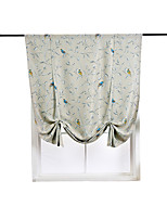 cheap -Botanical Print Lined Flower Leaf Tie Up Curtain Thermal Insulated Blackout Window Adjustable Balloon Curtain Shade Rod Pocket 1 Piece