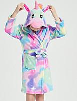 cheap -Kid's Kigurumi Pajamas Bathrobe Oodie Unicorn Flying Horse Onesie Pajamas Flannel Fabric Purple Cosplay For Boys and Girls Animal Sleepwear Cartoon Festival / Holiday Costumes / Bath Robe