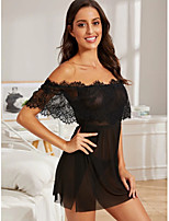 cheap -Women's Lace Mesh Split Babydoll & Slips Suits Bodysuits Nightwear Solid Colored Embroidered Black S M L