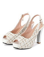 cheap -Women's Sandals Summer Stiletto Heel Peep Toe Daily Plaid / Check PU White / Black