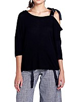 cheap -Women's T shirt Tee / T-shirt Black Cut Out Pure Color Lace up Bowknot One Shoulder Solid Color Cute Sport Athleisure T Shirt Long Sleeve Lightweight Breathable Soft Yoga Exercise & Fitness Running