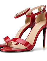 cheap -Women's Sandals Summer Stiletto Heel Round Toe Daily PU Nude / Black / Red