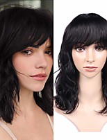 cheap -Remy Human Hair Wig Short Medium Length Natural Wave Neat Bang Natural Black Party Women Easy dressing Machine Made Capless Brazilian Hair Malaysian Hair Women's Girls' Natural Black 12 inch