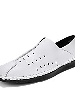 cheap -Men's Summer Casual Daily Loafers & Slip-Ons PU Non-slipping White / Black / Brown