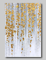 cheap -Oil Painting Hand Painted - Abstract Abstract Landscape Comtemporary Modern Stretched Canvas Golden Flowers