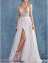 cheap -A-Line Beautiful Back Sexy Engagement Formal Evening Dress V Neck Sleeveless Sweep / Brush Train Tulle with Crystals Split 2020