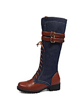 cheap -Women's Boots Cuban Heel Round Toe Casual Basic Daily Color Block PU Knee High Boots Walking Shoes Brown