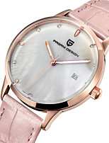 cheap -PAGANI Women's Quartz Watches Quartz Casual Water Resistant / Waterproof Stainless Steel Genuine Leather Analog - White+Pink Blue Blushing Pink / Calendar / date / day