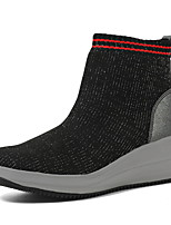 cheap -Women's Boots Summer / Fall Wedge Heel Round Toe Daily Outdoor Cotton Black / Gray
