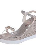 cheap -Women's Sandals Summer Wedge Heel Open Toe Daily PU Gold / Silver