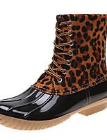 cheap -Women's Boots Flat Heel Round Toe Daily PU Mid-Calf Boots Summer Light Brown / Dark Brown