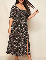 cheap -Women's A-Line Dress Maxi long Dress - Half Sleeve Floral Summer Work 2020 Black XL XXL XXXL XXXXL