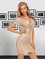 cheap -Women's Sheath Dress Short Mini Dress - Short Sleeve Sequins Summer V Neck Sexy Cocktail Party Slim 2020 Black Gold S M L XL XXL