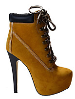 cheap -Women's Boots Fall / Winter Platform Square Toe Daily Solid Colored PU Purple / Brown