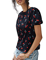 cheap -Women's Blouse Floral Round Neck Tops Loose Summer Black
