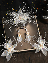 cheap -Women's Bridal Jewelry Sets Flower Stylish Vintage Sweet Earrings Jewelry White For Wedding Party 1 set