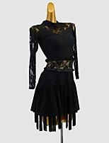 cheap -Latin Dance Dress Tassel Split Joint Girls' Training Daily Wear Long Sleeve Polyester